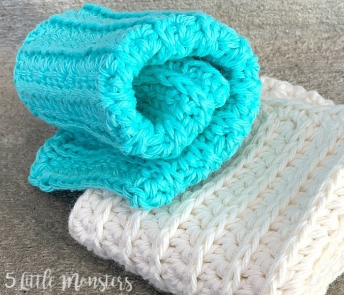 Washcloth - 5 Little Monkeys - Textured Crochet Patterns with Crochet in the Third Loop