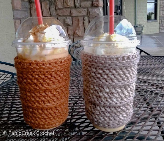 Dundee Cup Sleeve - PapioCreek Crochet - Textured Crochet Patterns