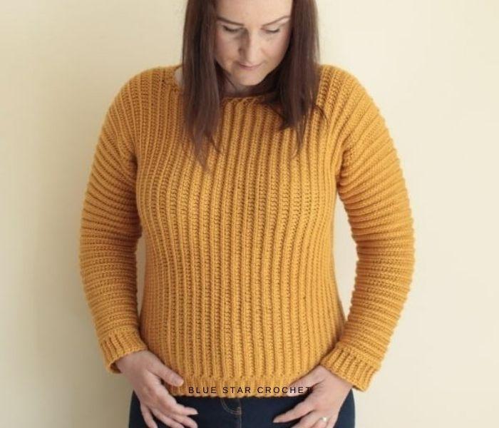 Sideways Jumper - Blue Star Crochet - Textured Crochet Patterns with Crochet in the Third Loop