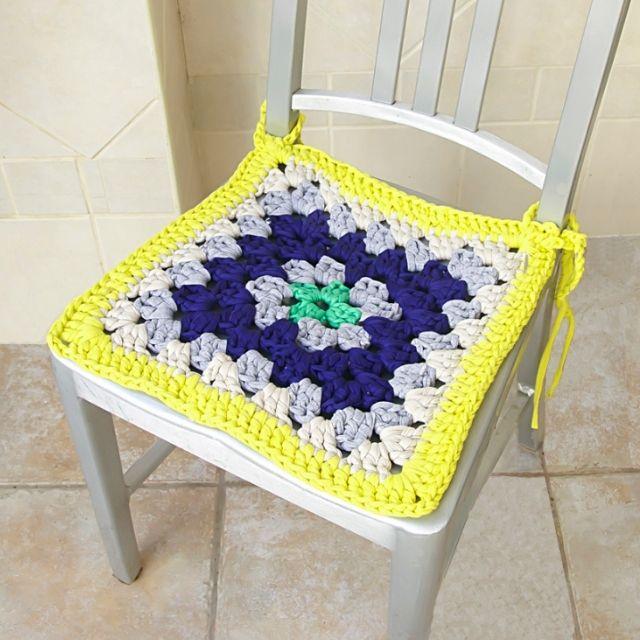Granny square chair pad