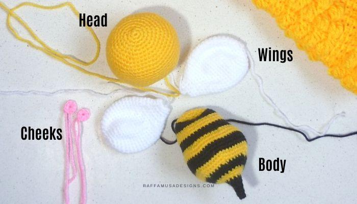 Parts of the Amigurumi Bee - Free Crochet Pattern - Raffamusa Designs