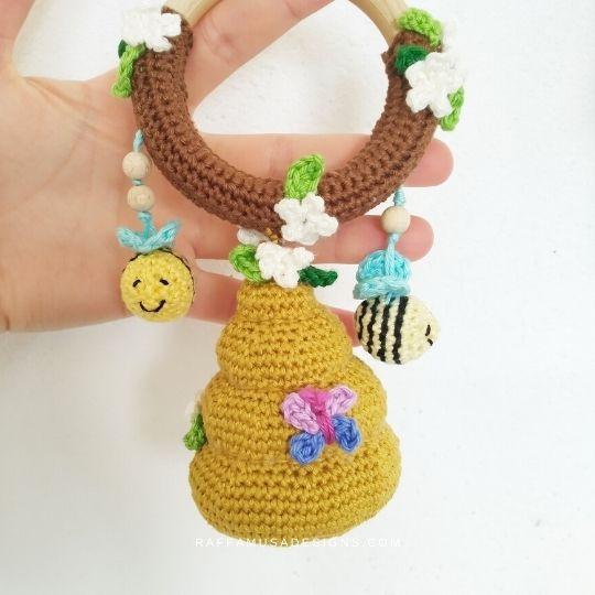 Amigurumi Beehive Baby Rattle - Free Crochet Pattern - Raffamusa Designs