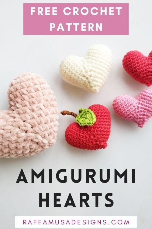 Amigurumi Valentines Hearts - Free Crochet Pattern - Raffamusa Designs