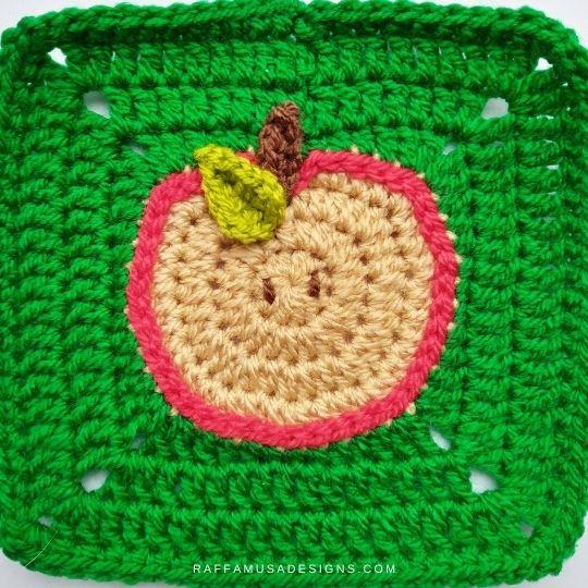 Apple Granny Square - Crochet Pattern