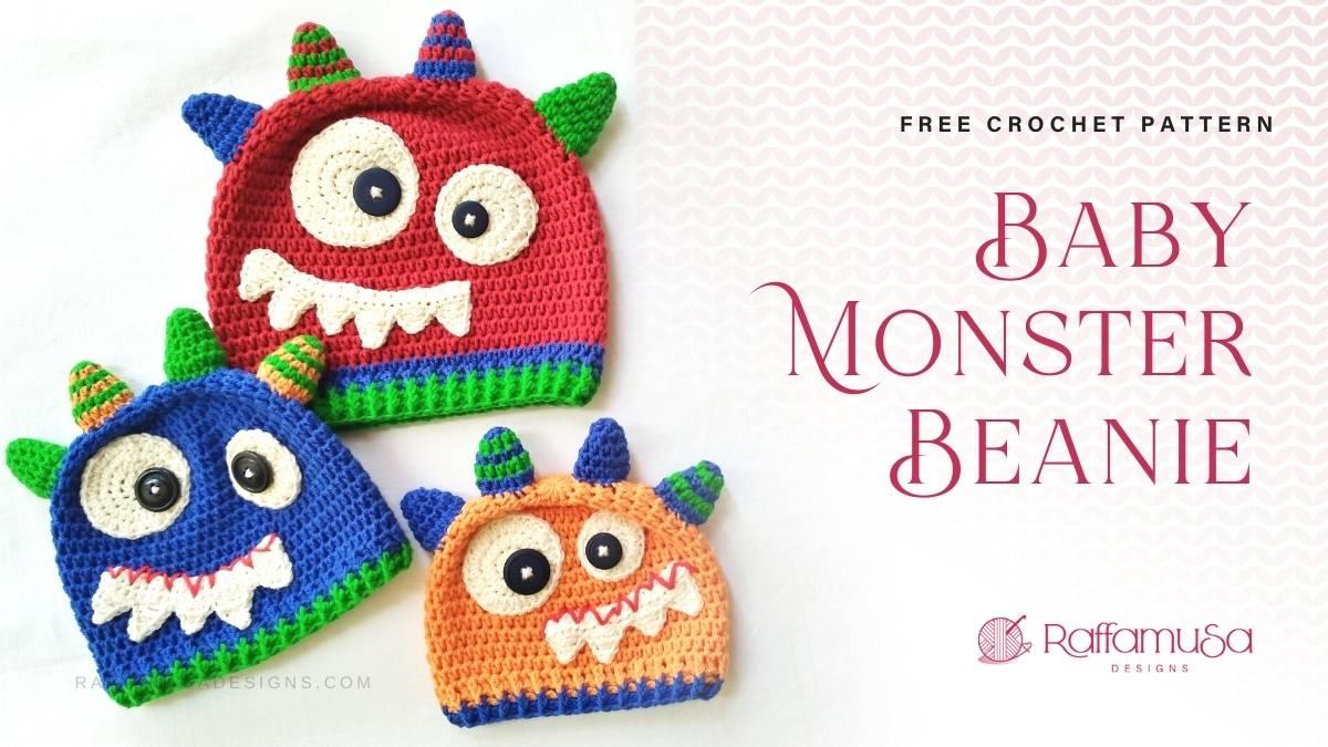 Baby Monster Beanie - Free Crochet Pattern - Raffamusa Designs
