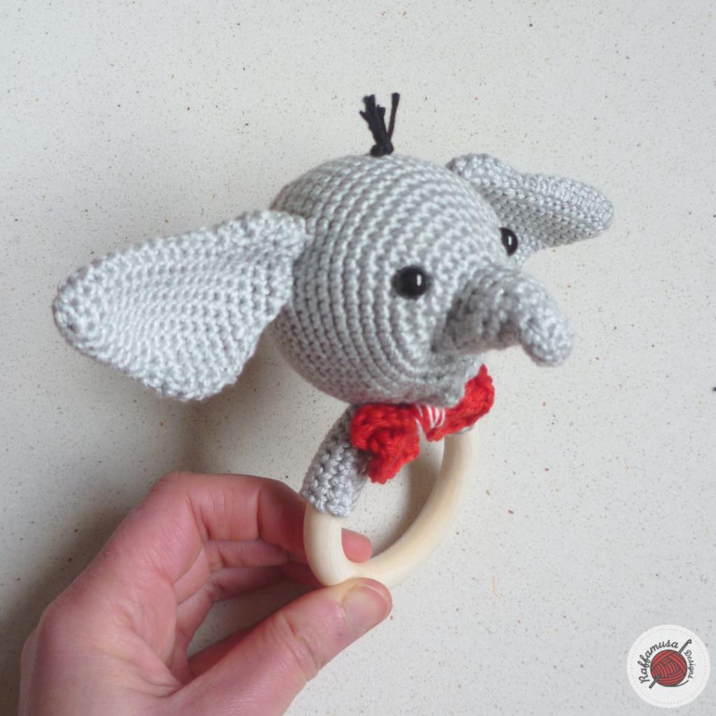 Grey Elephant Baby Rattle