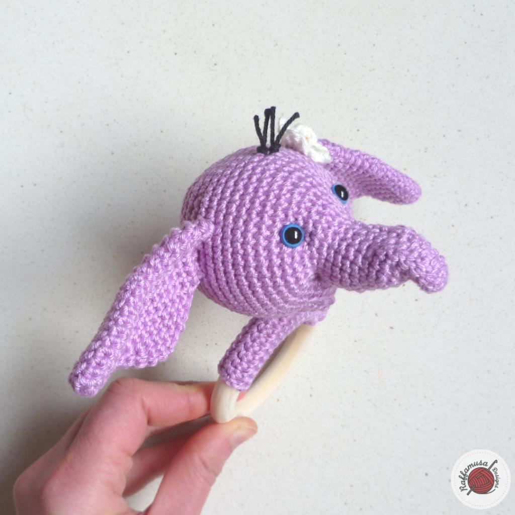 Pink Elephant Baby Rattle