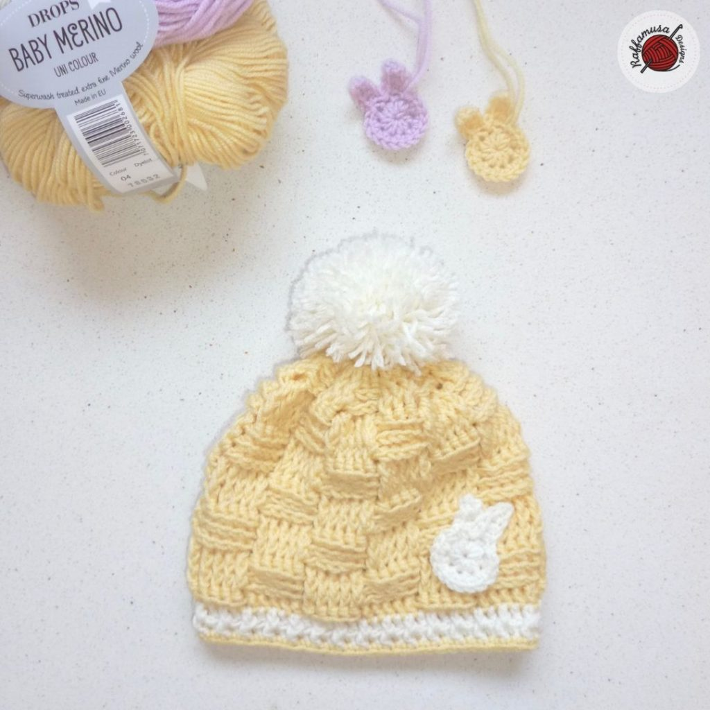 Crochet Basketweave Baby Beanie (0-3 months)
