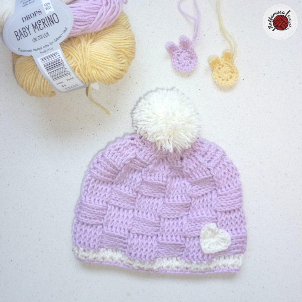 Crochet Basketweave Baby Beanie (3-6 months)