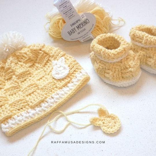 Basketweave Baby Beanie and Booties - Free Crochet Patterns - Raffamusa Designs