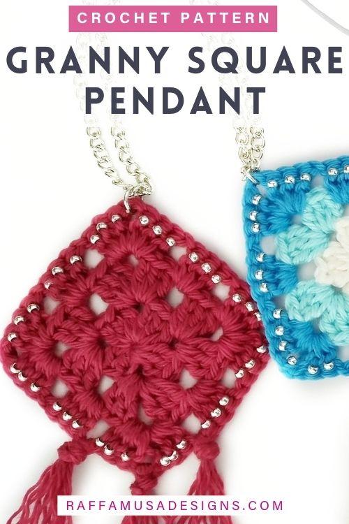 How to Crochet a Beaded Granny Square Pendant - Free Tutorial - Raffamusa Designs