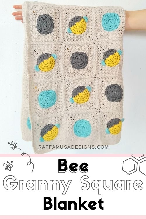 Don't forget to pin the free crochet pattern of the bee granny square blanket to your favorite crochet board on Pinterest.