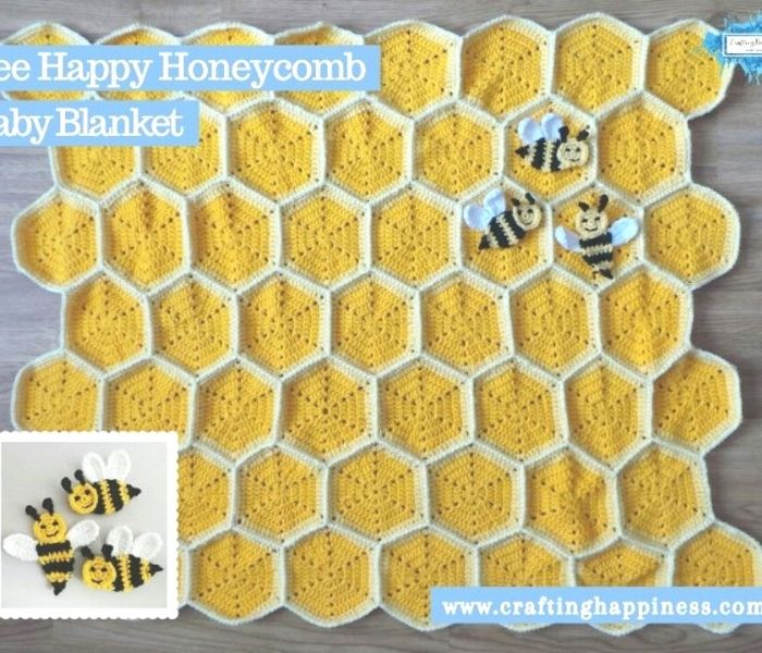 Bee Happy Honeycomb Baby Blanket - Crafting Happiness
