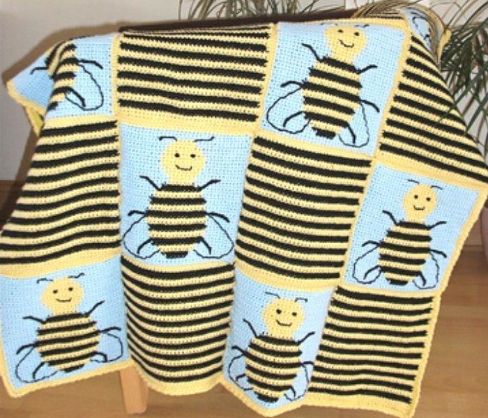 Bee Squares Blanket by Meike Beumers