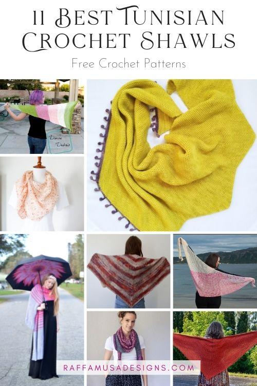 The Best Tunisian Crochet Shawl Free Patterns - Roundup - Raffamusa Designs