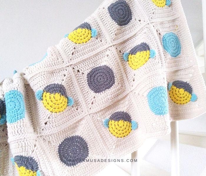 Bumblebee Granny Square Blanket - Raffamusa Designs