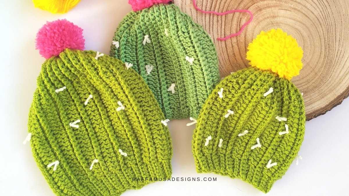 Cactus Beanie - Newborn to Toddler - Free Crochet Pattern - Raffamusa Designs