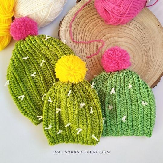 Crochet Cactus Beanie - Newborn to Toddler Sizes - Free Pattern - Raffamusa Designs
