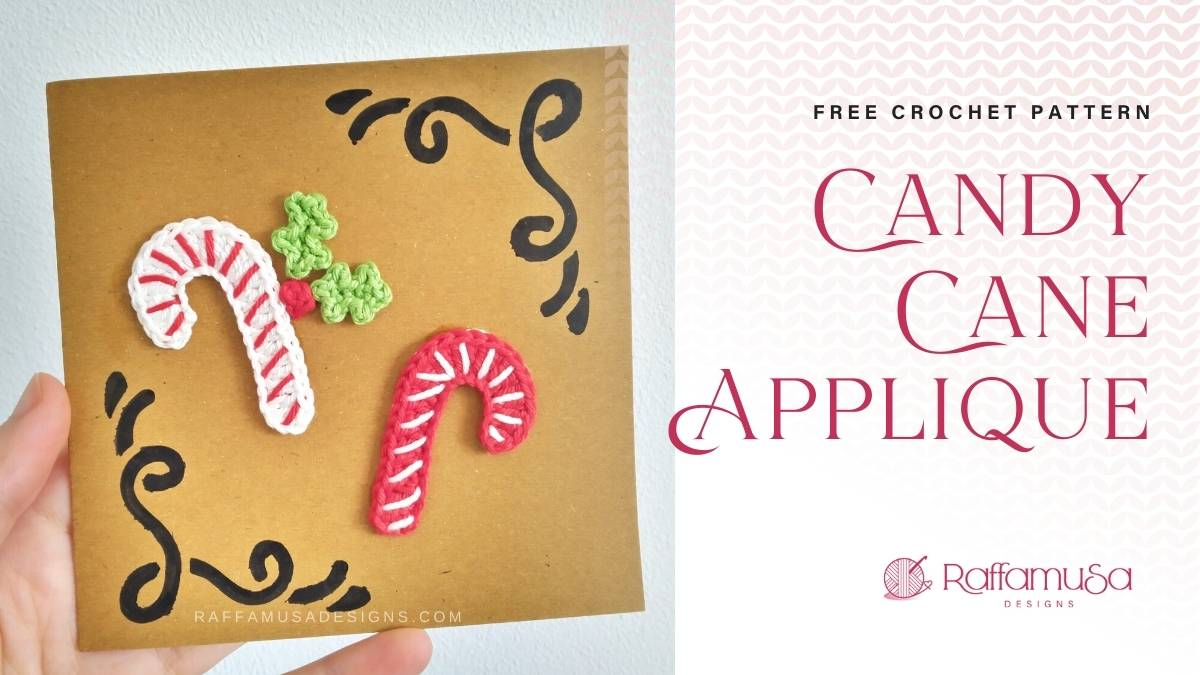 Christmas Candy Cane Appliques - Free Crochet Pattern - Raffamusa Designs