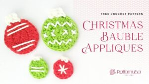 Crochet Christmas Bauble Appliques - Free Pattern - Raffamusa Designs