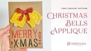 Crochet Christmas Bells Ornament Applique - Free Crochet Pattern - Raffamusa Designs