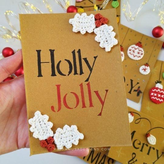 Crochet Holly Jolly DIY Christmas Card - Raffamusa Designs