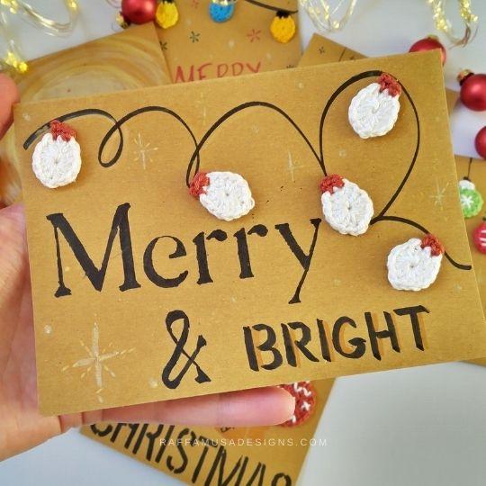 Christmas Card with Crochet Lights Appliques - Raffamusa Designs