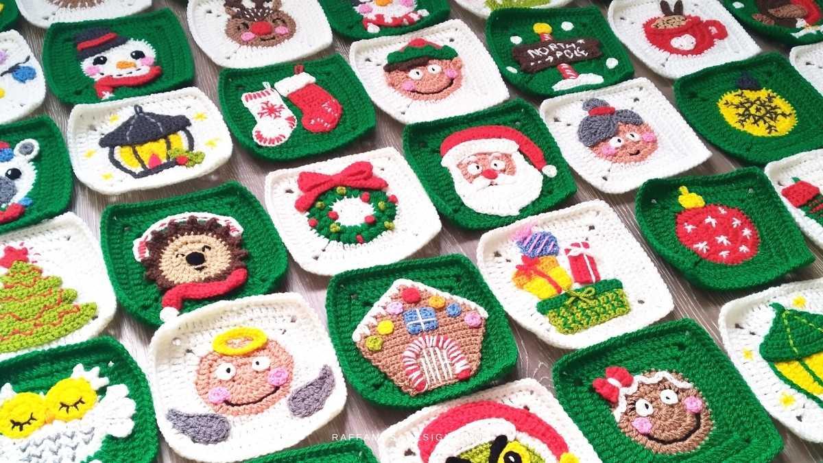 Christmas Granny Squares Blanket - Crochet Patterns - Raffamusa Designs