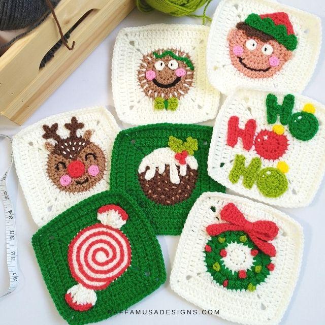 Crochet Christmas Granny Squares
