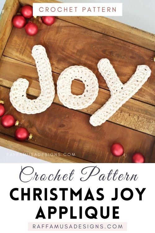 Christmas JOY Applique - Free Crochet Pattern - Raffamusa Designs