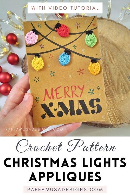Crochet Christmas Lights Appliques - Free Pattern - Raffamusa Designs