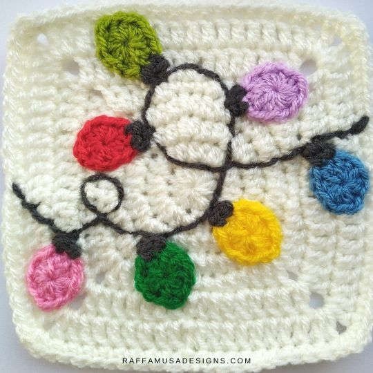 Christmas Lights Appliques and Granny Square - Crochet Pattern