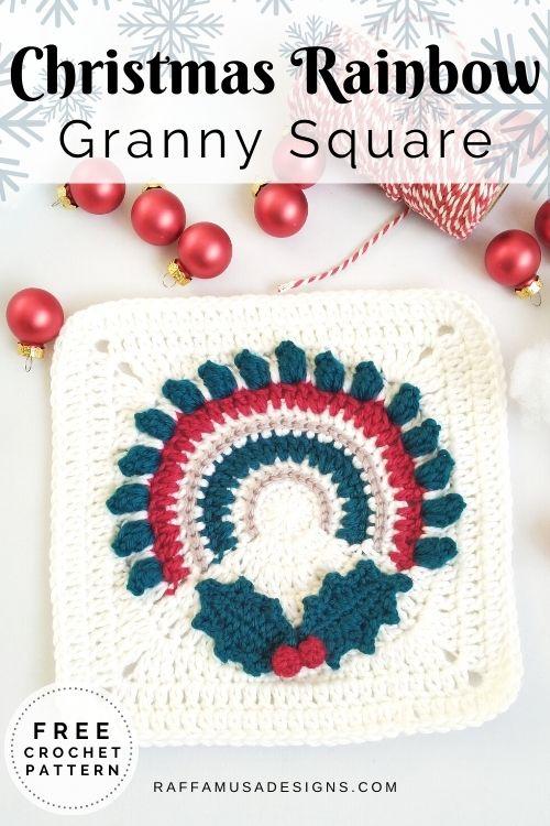 Boho Christmas Rainbow Granny Square - Free Crochet Pattern