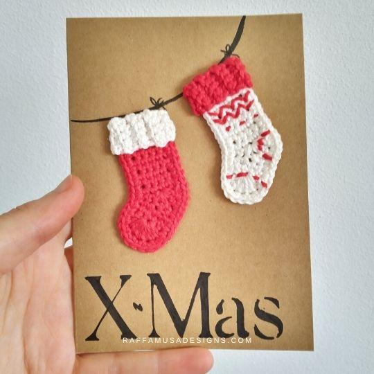 Crochet Christmas Stocking Applique - Free Crochet Pattern - Raffamusa Designs