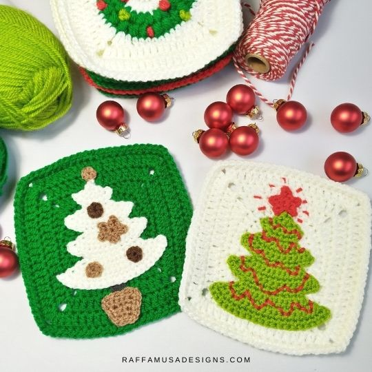 Christmas Tree Applique and Granny Square - Crochet Pattern