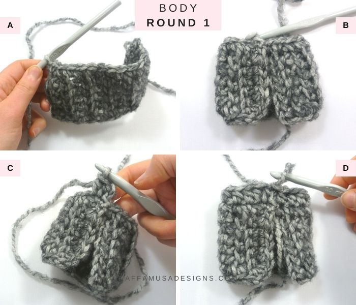 How to Crochet Round 1 of the Body - Basic Fingerless Gloves - Free Crochet Pattern - Raffamusa Designs