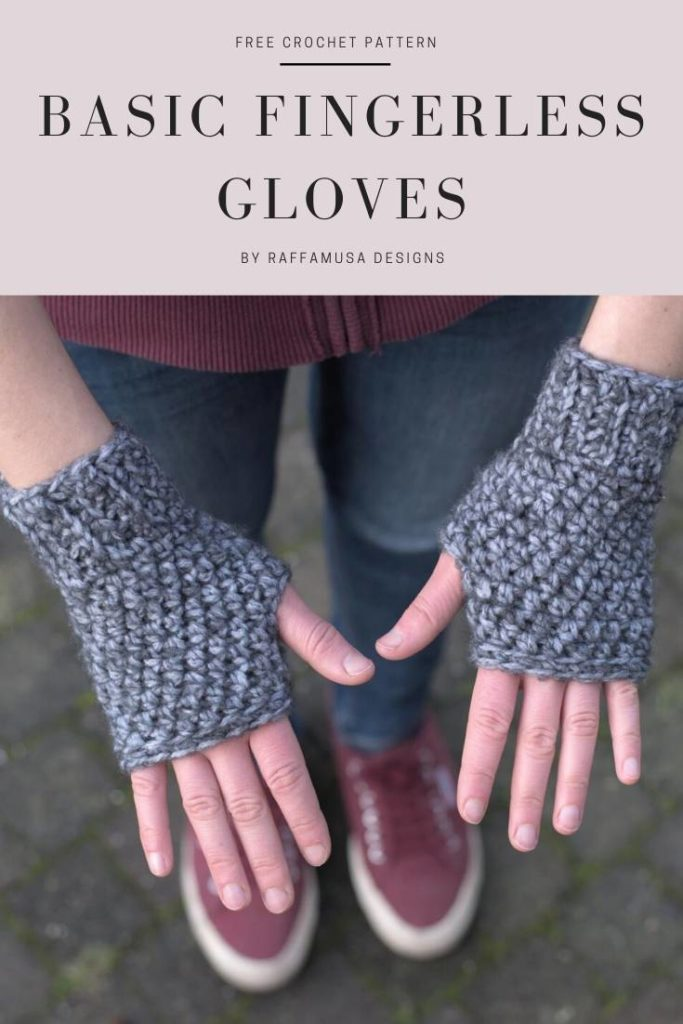 Basic Fingerless Gloves - Free Crochet Pattern - Raffamusa Designs