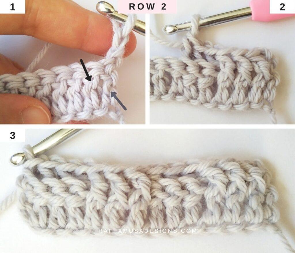 How to Crochet the Basketweave Stitch - Row 2 - Raffamusa Designs