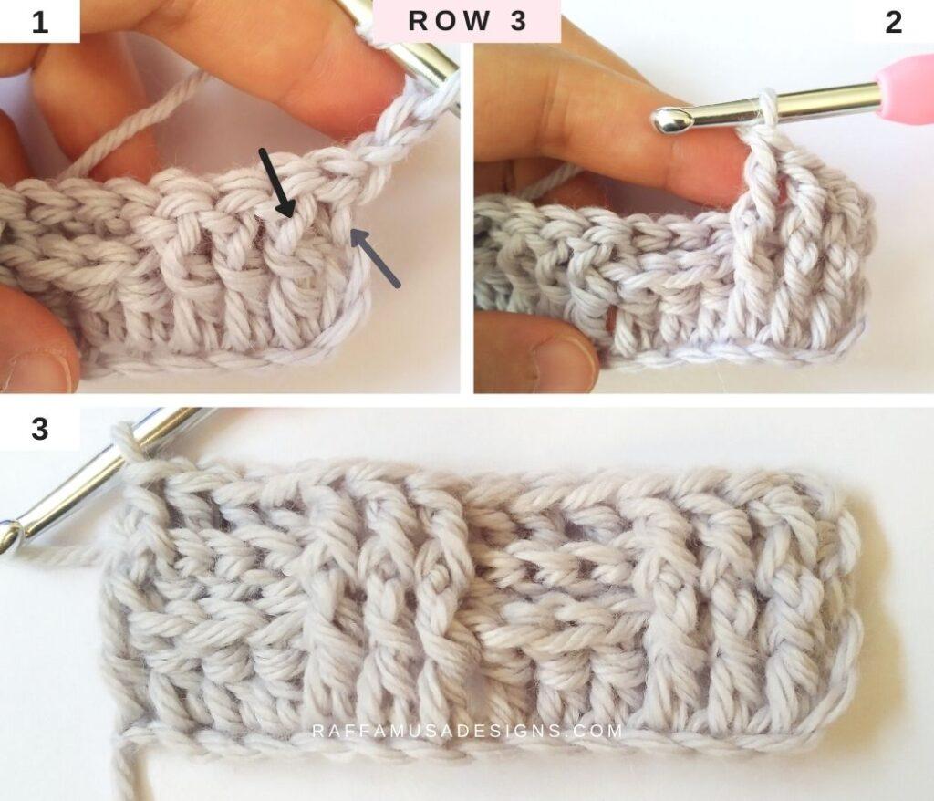 How to Crochet the Basketweave Stitch - Row 3 - Raffamusa Designs