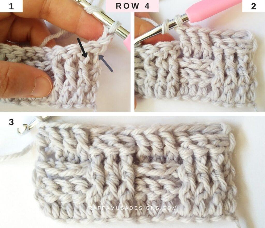 How to Crochet the Basketweave Stitch - Row 4 - Raffamusa Designs