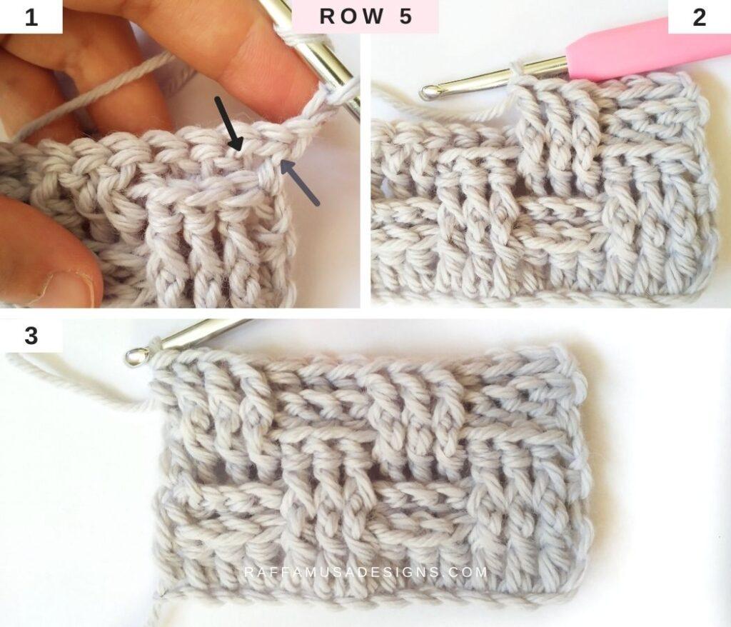 How to Crochet the Basketweave Stitch - Row 5 - Raffamusa Designs