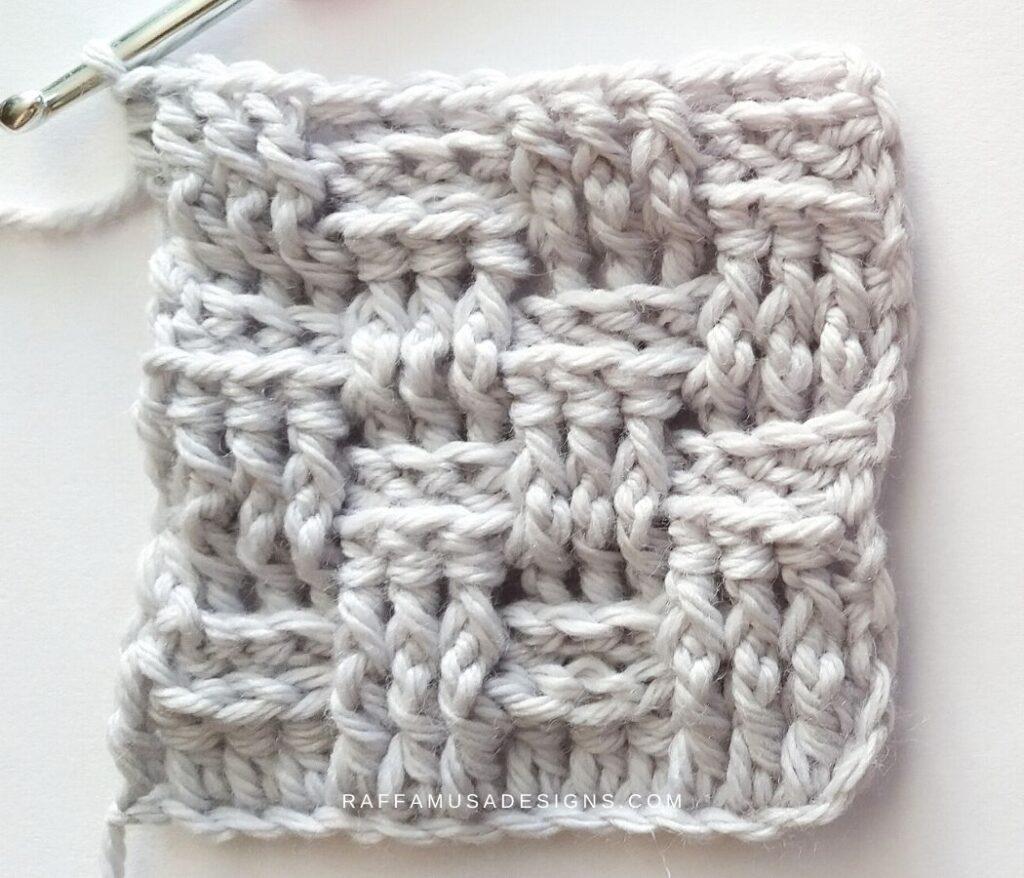 Crochet Basketweave Stitch Swatch - Raffamusa Designs