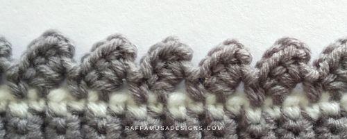 Half double crochet clusters around the post