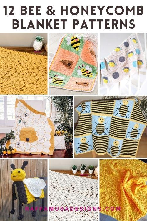 Crochet Bumble Bee Honeycomb Baby Blankets - Raffamusa Designs