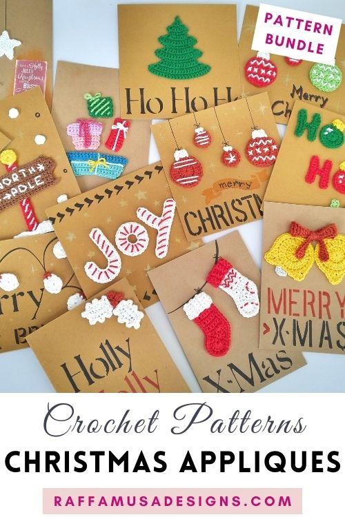 Christmas Appliques - Free Crochet Patterns - Raffamusa Designs