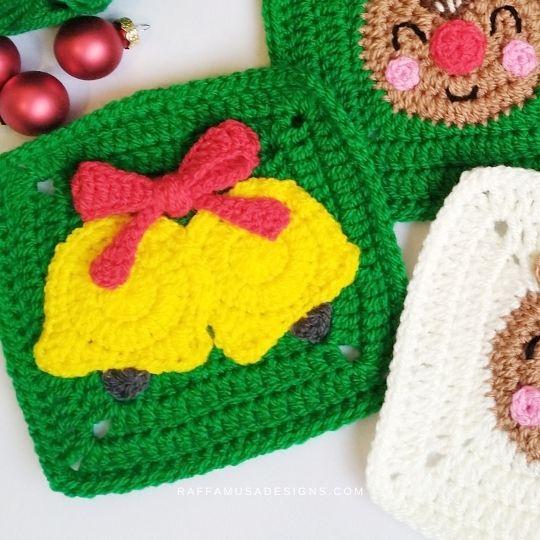 Crochet Christmas Bells Granny Square - Raffamusa Designs