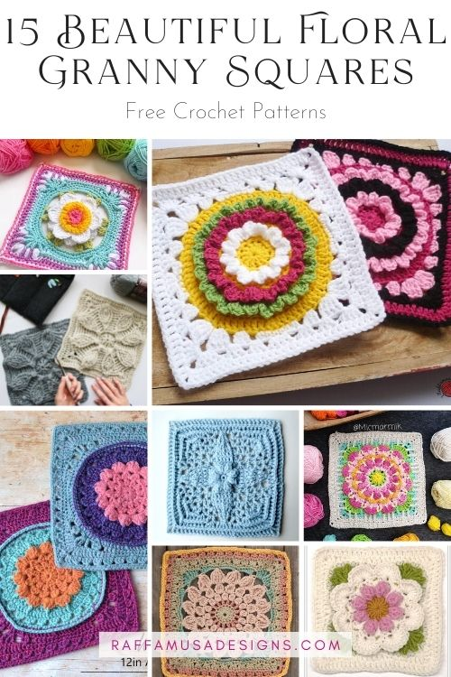 Crochet Floral Granny Squares - Roundup - Raffamusa Designs