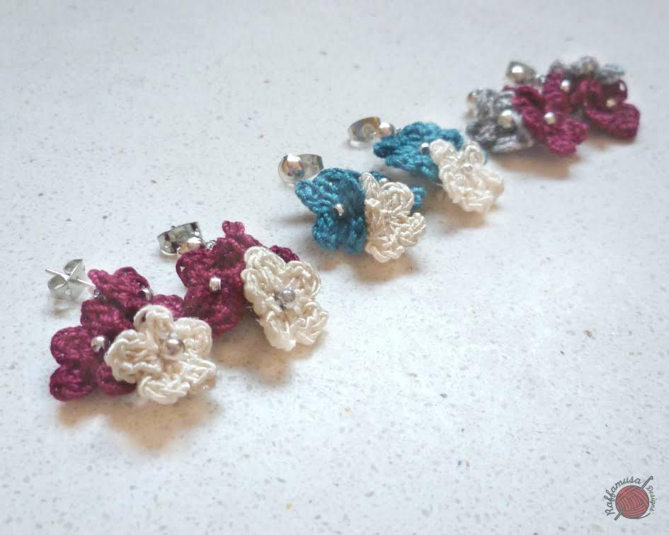 Crochet Flower Pendant Earrings Free Pattern