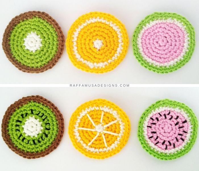 Crochet Fruit Slices - Raffamusa Designs