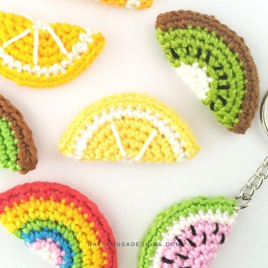 Crochet Fruit Slice Keychains - Free Tutorial for Beginners - Raffamusa Designs
